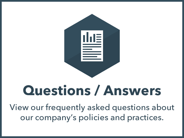 Questions/Answers: Looking for more information about our company and how we handle billing, service, etc?
